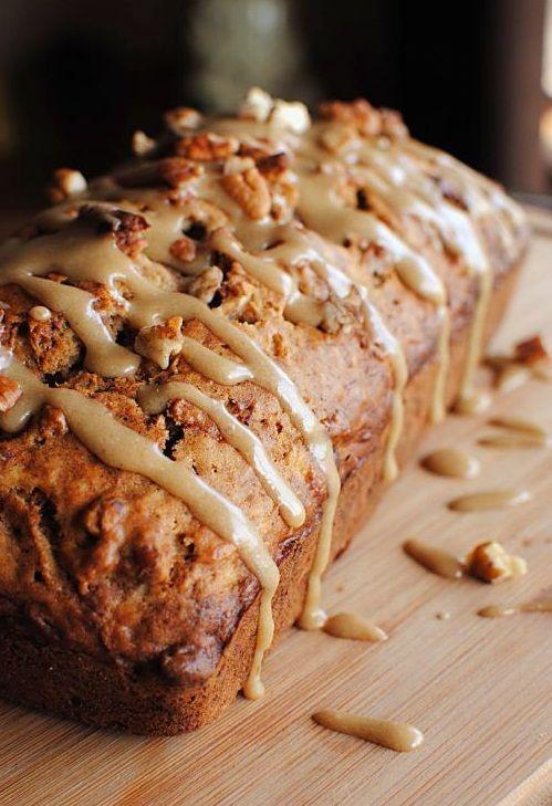 Caramel Glazed Super Moist Apple Bread !!