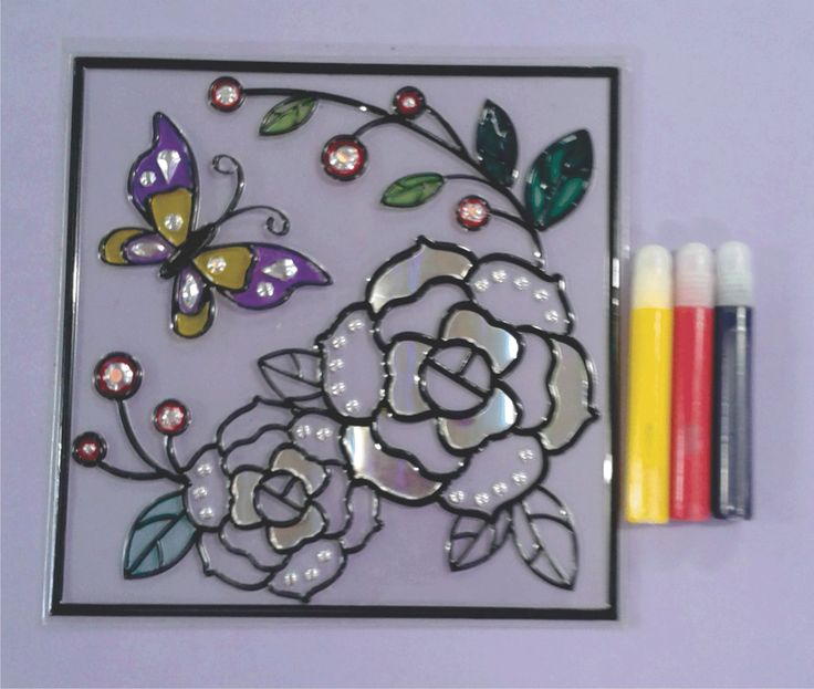Self-adhesive room décor. Can be stuck on windows and glass doors. Paintable with glass glaze. Available at Kief Kreatief (Paint Factory) www.paintfactory.co.za