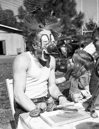 Memories of my childhool...Ringling Circus clown Lou Jacobs with Carla Wallenda: Sarasota, Florida