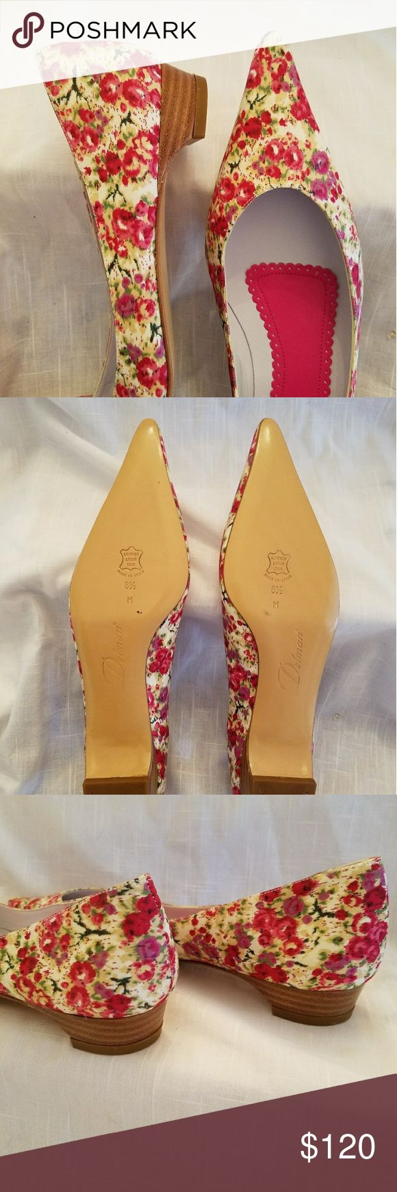 "Delman ""Buffy"" Cerise Floral flat Never worn! Stunning fabric and chic pointed toes. Wear with a summer dress or jeans and a t-shirt! The lining is butter-soft leather against your feet. Off-white base with pinks and greens. Made in Spain. Original box included. Delman Shoes Flats & Loafers"