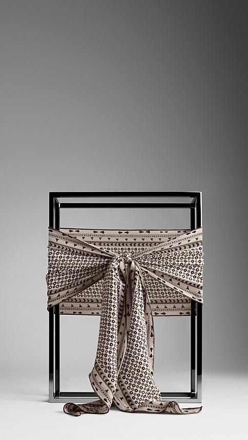 Burberry Painted Geometric Silk Scarf