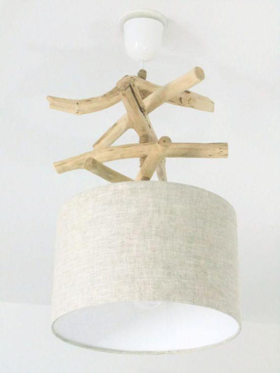 Lustre - slow deco suspension - plafonnier en bois flotté - lin 28 cm