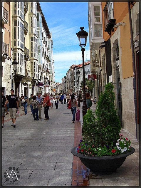 Walking down a Burgos City street /