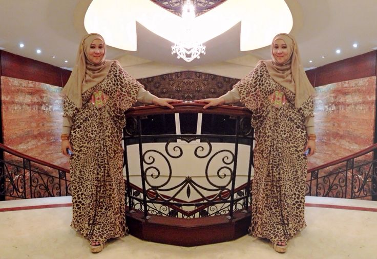 With my leopard kaftan