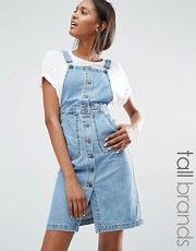 Джинсовое платье-комбинезон с пуговицами спереди Vero Moda Tall