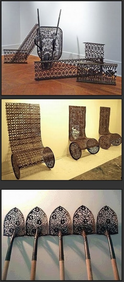 """Metal """"Lace"""" creations by Cal Lane"""