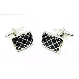 Black Tudor Windows Cufflinks - A truly classic style, reminiscent of the Tudor window panes.  Perhaps a for someone with a Shakespearean bent.