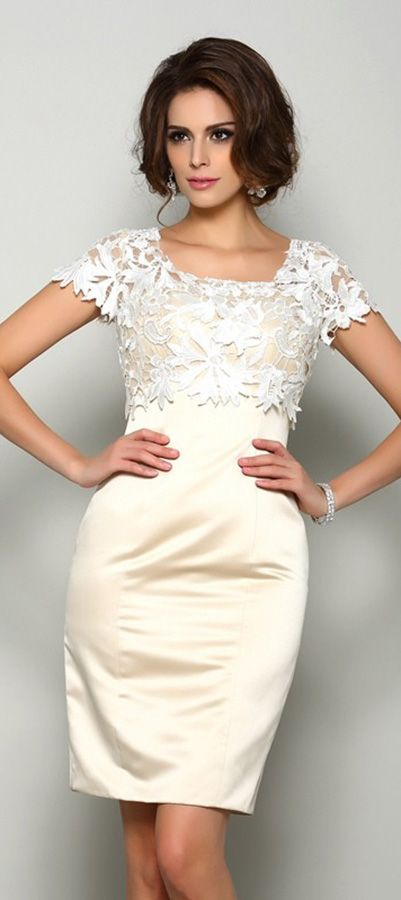 Adorable!! Lace champagne sheath dress for young mother of the brides.