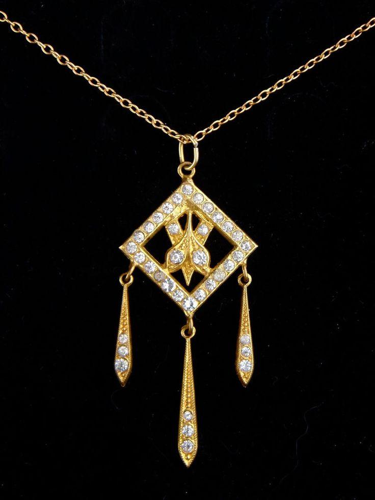 Antique Art Nouveau Art Deco Czech Glass Necklace Pendant Gold Tone Rhinestones #Unbranded #Pendant