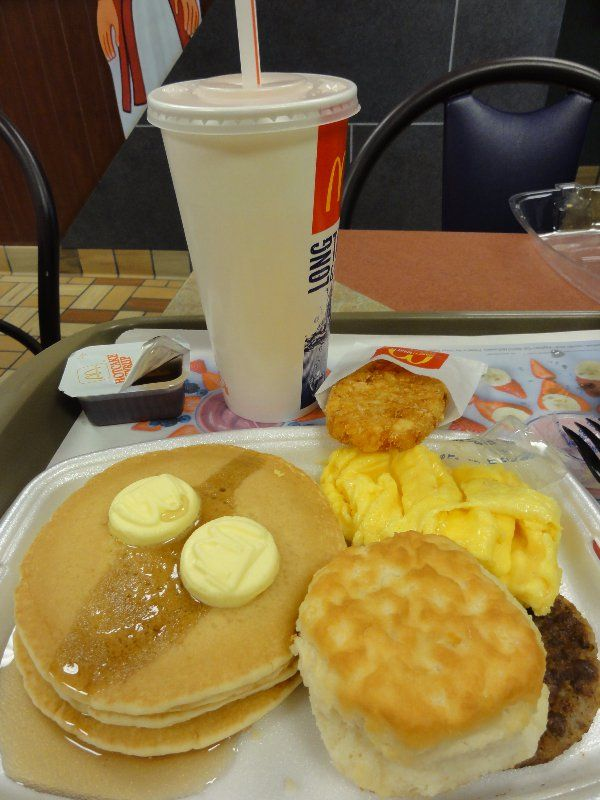 Pin for Later: McDonald's Breakfast Menu Items We're Stoked to Order All Day Big Breakfast With Hotcakes Oh yeah, there's no going back. Try not to salivate with anticipation.