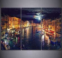 3 Sztuka Obraz Na Płótnie Obraz Drukuje Wenecja Włochy Canal Plakat HD Rzym Decor Płótno Wall Art Picture For Living drukowane(China (Mainland))