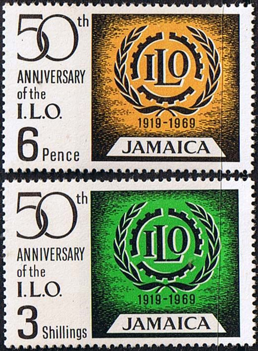 Jamaica 1968 275 6 International Labour Organization Set Fine Mint SG 275 6 Scott 274 5 Condition Fine LMM Only one post charge applied on multiple