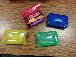 Soap boxes for crayon storage. They come in all the primary colors at Walmart!