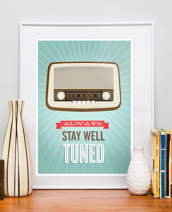 Mid Century Art, Retro vintage radio poster, typography quote art, nursery decor, kids art Stay well tuned A3 size. $21.00, via Etsy.