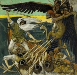 The Defence of the Sampo illustrates a passage from the Kalevala - Akseli Gallen-Kallela