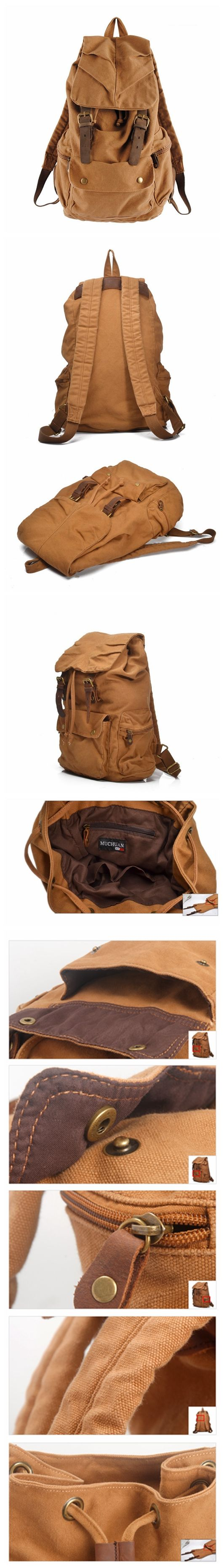 Leather Trimmed Waxed Canvas Backpack, School Backpack, Travel Backpack