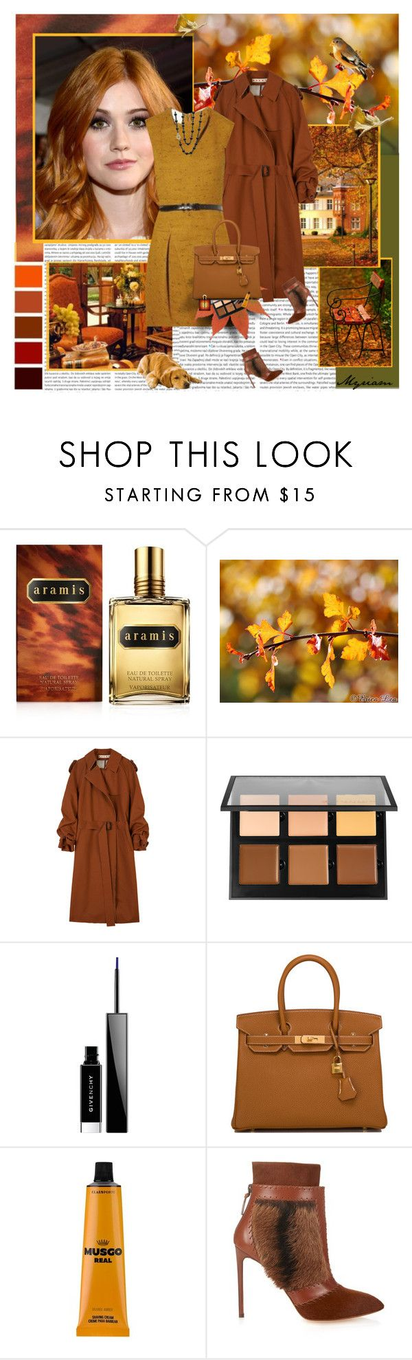 """Dressed in gold and Carmine. the autumn came :second spring"" by lovemeforthelife-myriam ❤ liked on Polyvore featuring Aramis, Oris, Marni, Anastasia Beverly Hills, Givenchy, Hermès, The Real Shaving Company, Francesco Russo, Yves Saint Laurent and Ivanka Trump"
