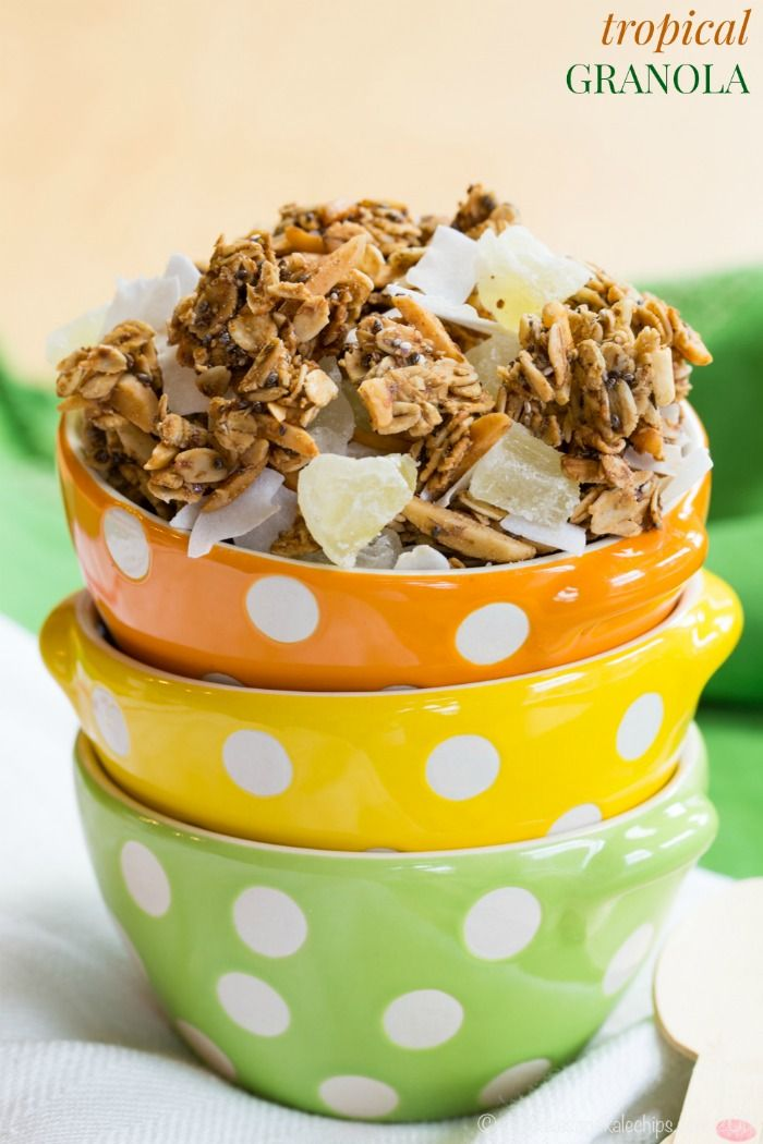 Pineapple Coconut Tropical Granola - a simple sweet breakfast or snack. Can be made gluten-free, dairy-free, and vegan, then use it to top @LoveMySilk Almond Dairy-Free Yogurt Alternative.