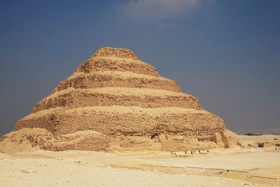 Step Pyramid of Djoser. The first pyramid ever built by the Egyptians, Djoser rises up 60 meters with six steplike layers, one built on top of the other. The pyramid was constructed at Saqqara about 4,700 years ago. Beneath the pyramid lies a labyrinth of tunnels extending 5.5 kilometres. At the labyrinth's centre is a 28-metre-deep shaft containing the burial chamber of Djoser, king of Egypt's third dynasty.