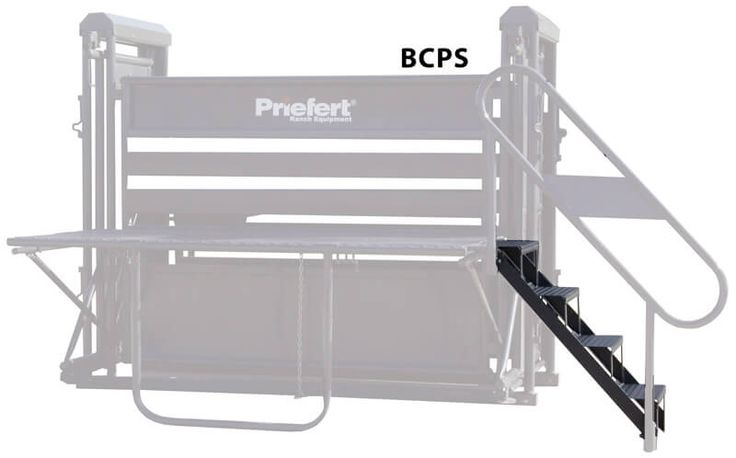 Priefert's Bucking Chute Platform Stairs are specifically designed to attach to the folding platform on the back of Priefert Bucking Chutes. To attach the stairs, simply hook them over the rail on the platform.