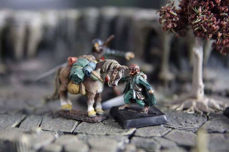 Lord of the ring, poney devant la Moria, Table dwarven forge, rpg terrain, diorama 28mm, figurines, miniatures