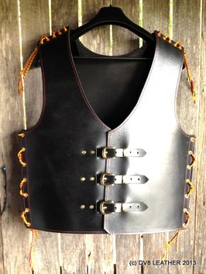 Dv8 Biker Vest With Red Amp Gold Laces Dv8 Leather