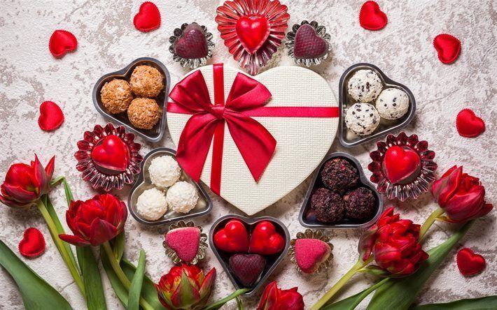 Scarica sfondi Il Giorno di san valentino, regali, cioccolatini, cuore rosso