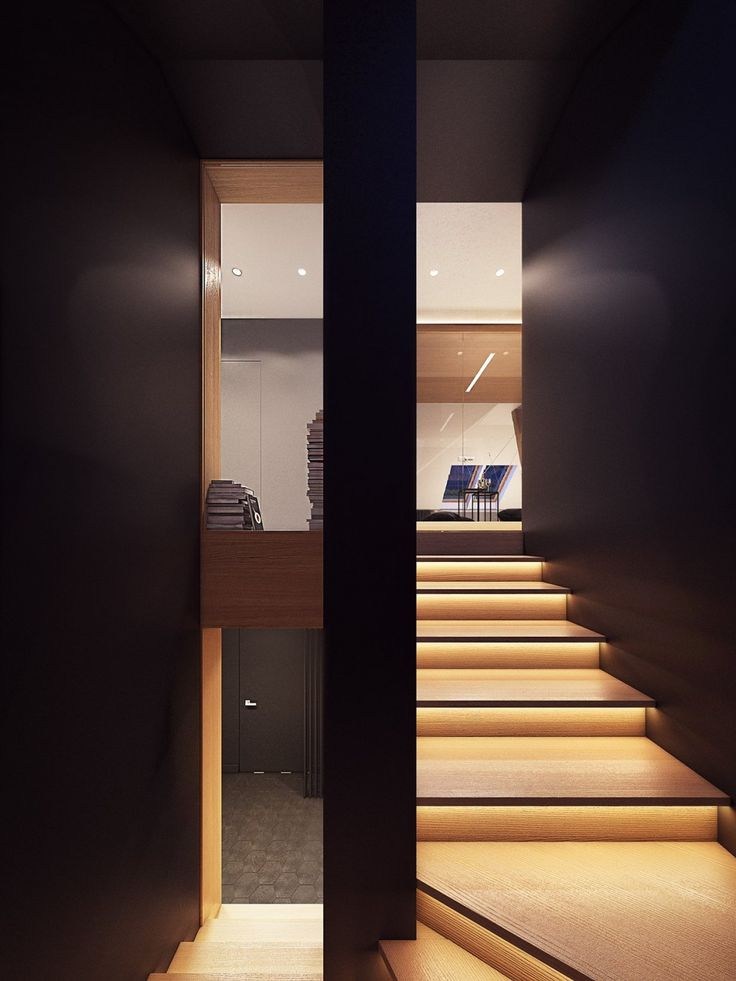 Apartments: Plasterlina Stair Lighting Ideas Luxury Apartments Design Black Wall Colors: Lofted Opulence