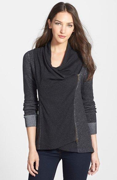 Eileen+Fisher+Drape+Neck+Asymmetrical+Zip+ $358, 100% organic cotton