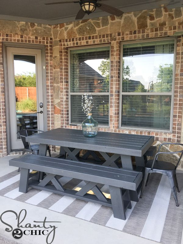 DIY-Patio-Table Paint color Sherwin Williams Urbane Bronze...love it!
