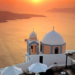 More memories of The Greek Islands.. Oia, at the northern point of the island of Santorini, and the island to the left in the photo is the volcano. Oia is known for the most famous sunsets in the world! Crowds of people applause when the sun finally disappears. Breathtaking.
