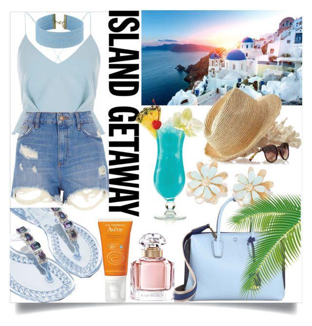"""#islandgetaway #contest #beach #riverisland #polyvore"" by vikapranika on Polyvore featuring River Island, Mark & Graham, MCM, Casadei, Steve Madden, TIKI and Guerlain"