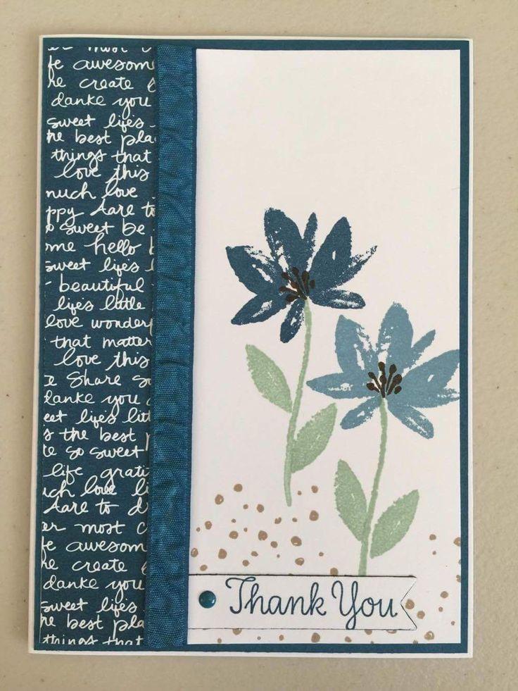Stampin' Up! Avant Garden, Thankful Thoughts stamp sets. Ink- Daper Denium, Marina Mist, Early Espresso, Crumb Cake, Mint Macaron.