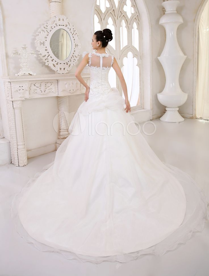 Robe de mariée en organza ivoire avec pan latéral à traîne chapelle - Milanoo.com
