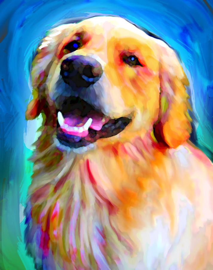Fletcher. Digital Golden Retriever portrait from photograph.