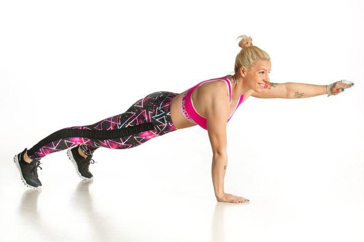 2. Yhden käden lankku  Pidä keskikeho vahvana, pakarat selän jatkeena. Kädet ovat hartian leveydellä. Nosta toinen käsi lattiasta. Huolehdi siitä, ettei vartalo käänny, vaan napa osoittaa koko ajan kohti lattiaa. Pysy liikkeessä 30 sekuntia. Vaihda käsi ja toista.