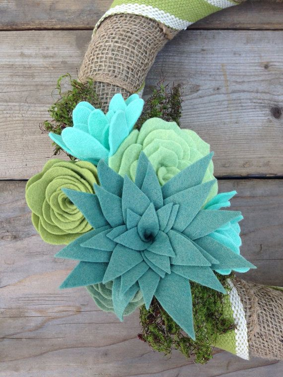 Burlap Wrapped Wreath Felt Succulent Wreath Aqua by TheRuffledPage