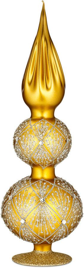 A golden treat tree topper, Waterford Holiday Heirloom Nostalgic Gold Tinsel Tree Topper