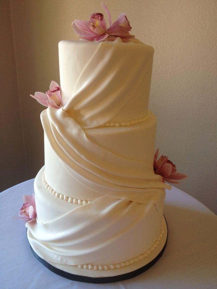 Wedding Cake Sacramento Wedding Cake With Fondant Swags Draping And Fresh Orchid Flowers Cake