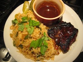 Lemon and Cheese: Jamies 15 Minute Meals: Glazed Pork Fillet with Cajun-Style Pepper Rice and BBQ Sauce