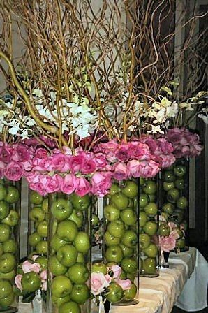 Centerpiece Featuring Apples, Roses, Orchids and Curly Willow