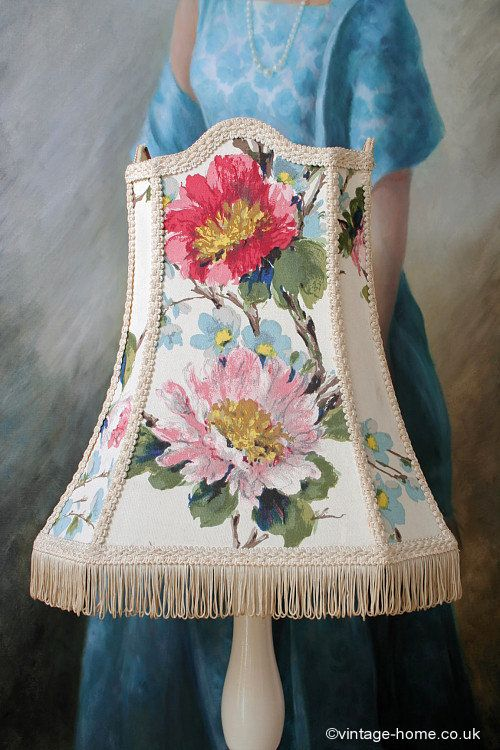 Vintage Home - Stunning 1940s Hand Painted Floral Standard Lamp Shade: www.vintage-home.co.uk