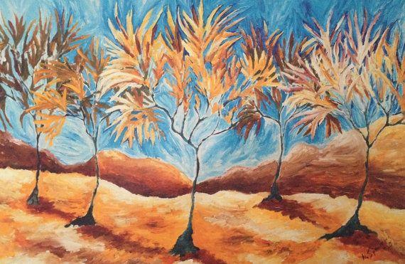 Autumn Trees Contemporary Landscape Fine Art by NickySpauldingArt, $30.00