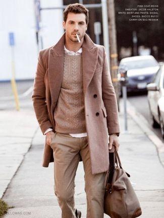 Men's Khaki Chinos, Dark Brown Leather Belt, White Longsleeve Shirt, Beige Waistcoat, and Grey Blazer | Lookastic for Men