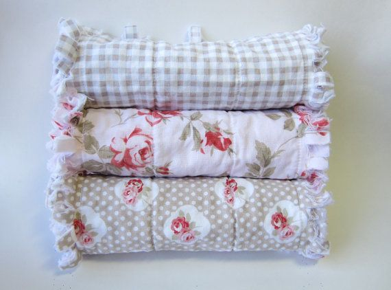 Shabby Baby Girl Burp Cloths  Pink Taupe by LittleTreasureQuilts, $33.00