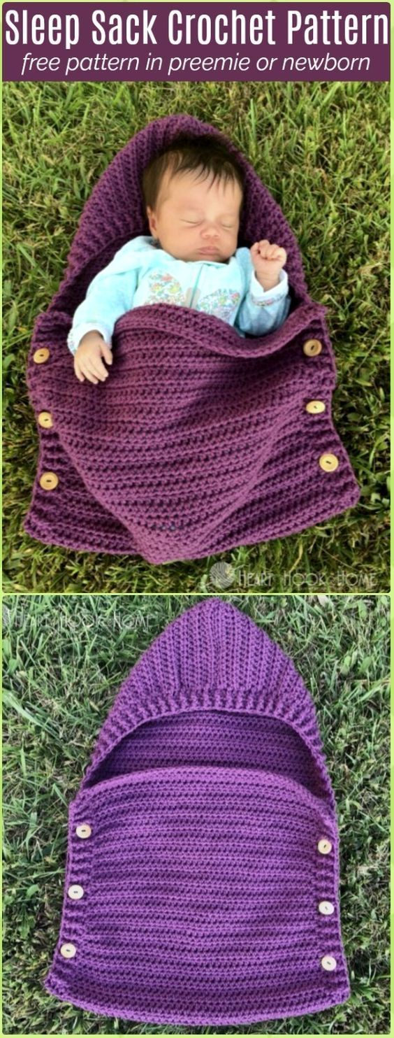 Crochet Newborn Sleep Sack Free Pattern - Crochet Baby Shower Gift Ideas Free Patterns #CrochetPatterns