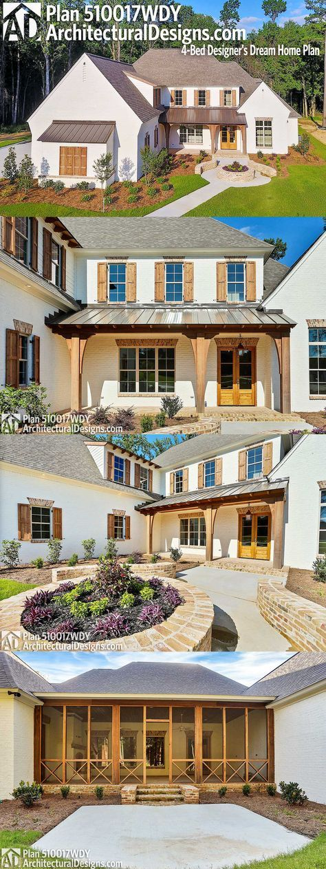 Architectural Designs 4-Bed House Plan 510017WDY has a 3-car side-load garage, a huge covered back porch with fireplace and outdoor kitchen and over 4,400 square feet of heated living space inside. Ready when you are. Where do YOU want to build?