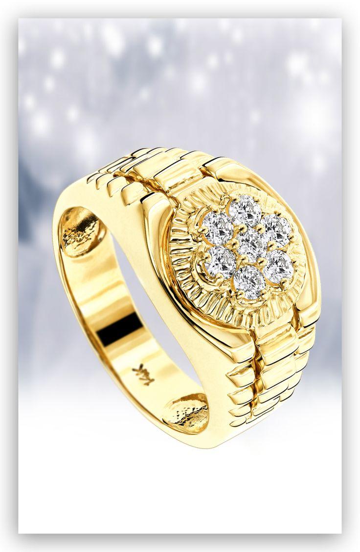 diamond rings 14k mens rolex style diamond ring. Black Bedroom Furniture Sets. Home Design Ideas
