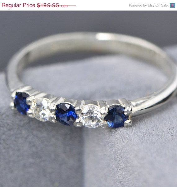 SALE Sapphire Ring - Sterling Silver Ring - Gemstone Jewelry - Blue Gemstone - September Gemstone - Moissanite Ring