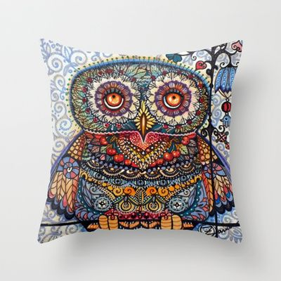 owl art on pillow http://society6.com/archann/pillows